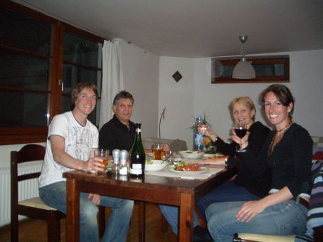 Landed!  Our first dinner together.  We can't believe they are sitting in our living room!