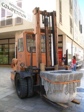 Walking around Zadar's streets and what do you find being lugged around on a fork-lift...an ancient roman ruin.