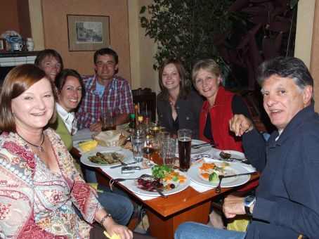 Having dinner with the oldies and our friends Pavel and Pavlina.  Another round of mama's special topped off the night.