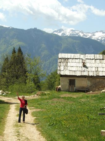Sue has swapped her school gown for a pinafore and now lives in the Slovenian mountains.