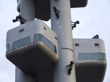 Alien babies taking over the Prague TV tower.