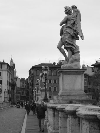 Ponte Sant'Angelo - meaning the Bridge of Hadrian, is a bridge in Rome, constructed between 134-139 by Roman Emperor Hadrian, to span the Tiber, from the city centre to his newly constructed mausoleum, now the towering Castel Sant'Angelo.