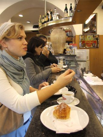 A well deserved pit stop.  A coffee and sweet by the bar.  Could it get anymore I-talian?!