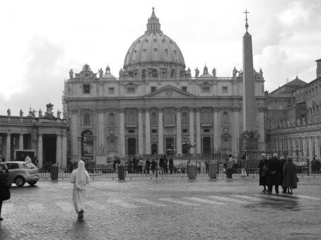St. Peter's Basilica and Square.  Token shot with the nun in the foreground.