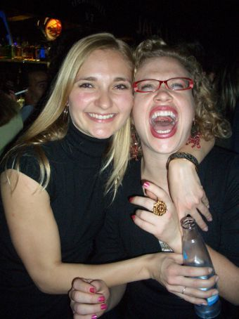 Laughs aplenty at Harley's Bar - just after the barman blew flames out of his mouth...