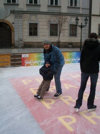 Pavel and Adam - his first ever skate and he loved it.