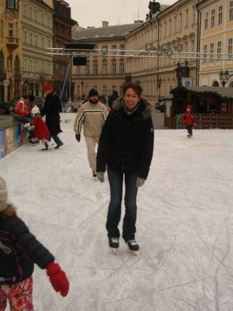All smiles when you're skating on ice outside in the middle of Prague's old town...