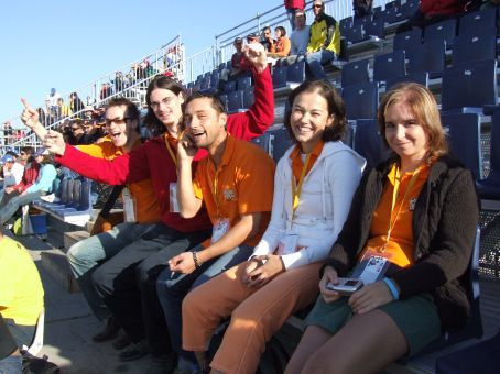 Work colleagues in the grandstand at the circuit.