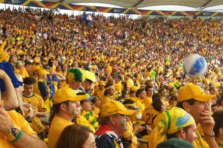 Fans at the stadium. Spot the Croatian fan!
