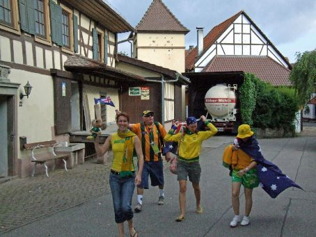 Leaving small village of Wilferdingen-Singen in the morning on the way to Kaiserslautern. Spreading the Aussie cheer, but all we got were fixed stares of bewilderment from the locals!