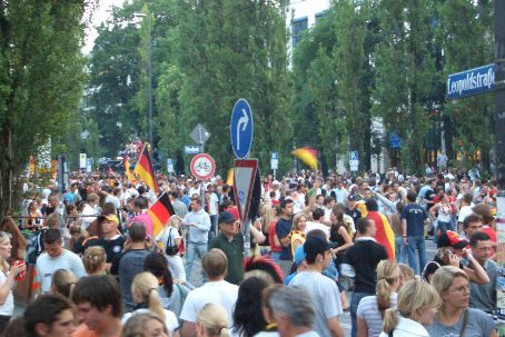 Leopold Strasse, Munich, after Germany defeated Argentina to advance to the semi-final. I'd believe it if someone told me there were 1 million people along this mile.