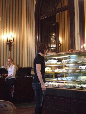 ... while this was OUR approach! Maria checking out the cake selection at the infamous Művész cafe on Andrassy avenue. We had to have a latte pitstop!