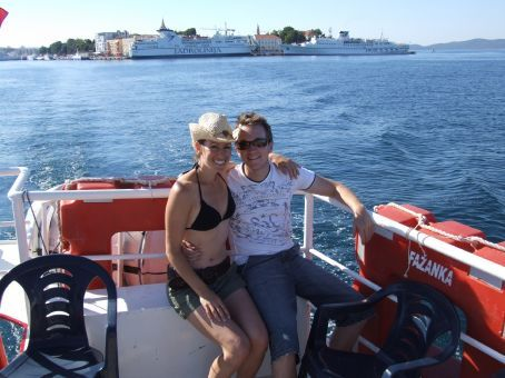 Heading from Zadar to the Kornati islands. Two seconds later a huge wind came up and blew Maria's hat into the sea behind us.