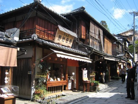 Old fashioned buildings and narrow streets, Kyoto