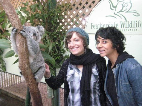 Tania and Sangita cuddle up to a koala - watch out for the lice!