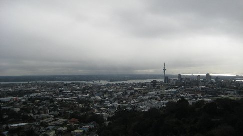 A view of Auckland from the top of Mount Eden