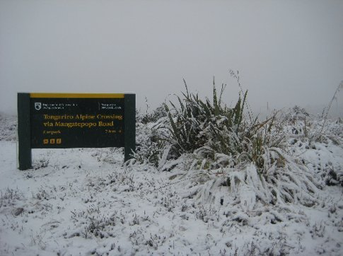 The entrance to the Tongariro Crossing, closed due to heavy snow