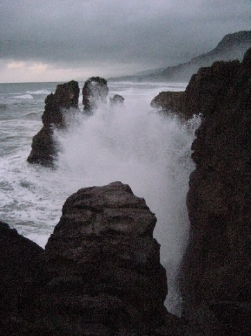 The Tasman Sea batters the coast at Punakaiki