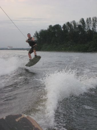 Deery jumps over a wave - my hero!