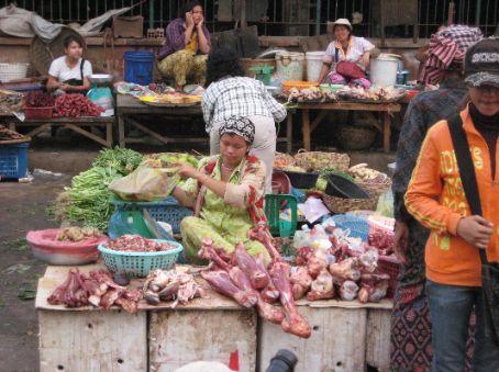 The meat lady, Battambang market