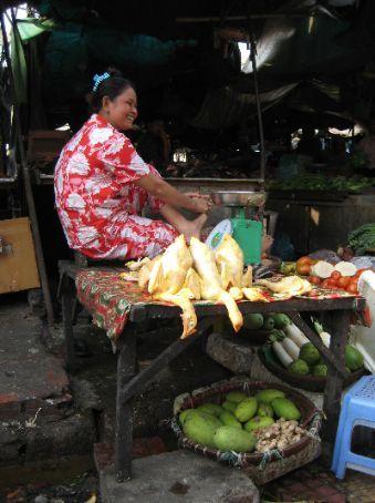 The plastic comedy chicken lady, Phnom Penh