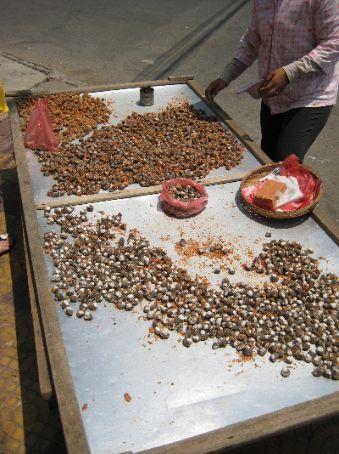 Whelk seller in Phnom Penh