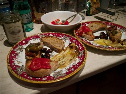 Marinated eggplant on toasted points
