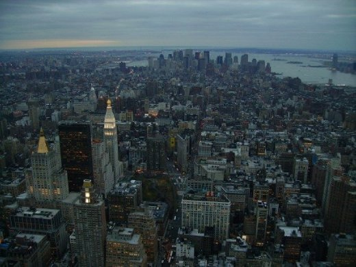 The view form the Empire State Building at dusk, New York.