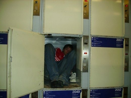 Hostels were few and far between this week. A locker at the train station.