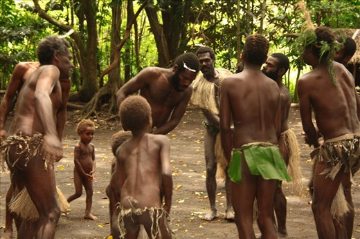 Male tribal dance where woman just can't participate. They jump and sing and walk in circles to venerate the nature, because they believe that man belongs to earth. Lekalangia, Tanna, Vanuatu.