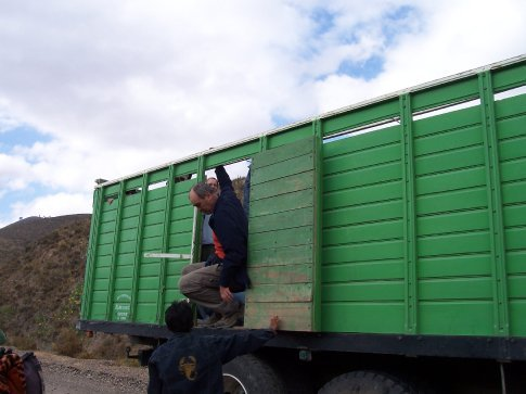 steve getting out of truck on their way to sucre