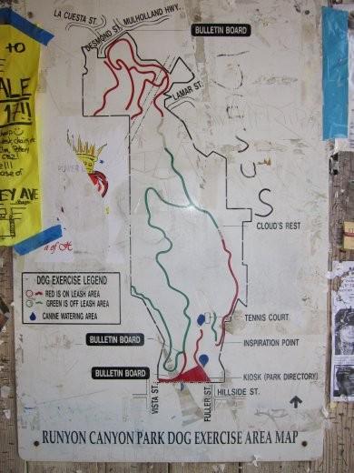 Trail map of Runyon Canyon
