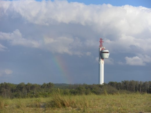 Impressive search and rescue tower in behind the dunes