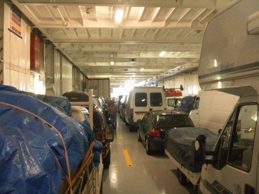 Night 10 - Rig in the lower hold of ferry across the English Channel from Portsmouth to Le Havre.