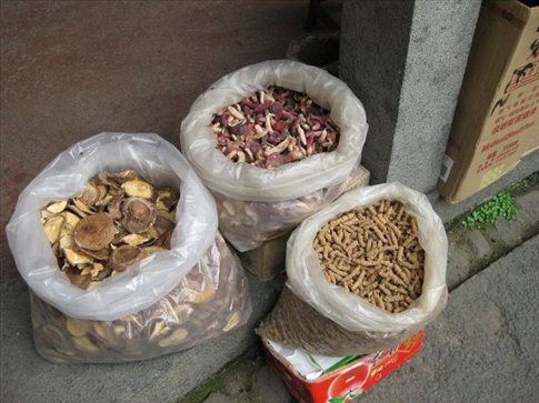 Dried mushrooms and a type of ginger for sale in the earth building souvenir shops. Even in the most quaint places; if there's tourists, there are souvenir shops! Everybody trying to make money! I'm surprised there was no McDonald's there; there seems to be one everywhere else!