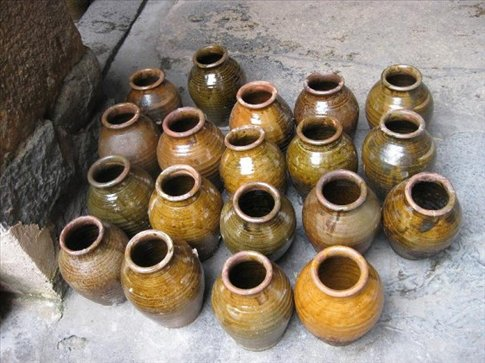 These are the hand made clay pots that they put the wine into when it's ready to be sold.