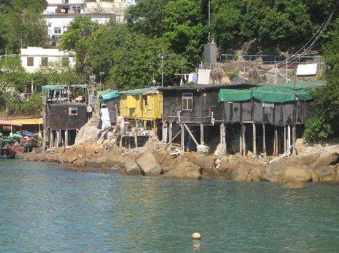 Crazy stilt houses on the shore at Yung Shue Wan, Lamma Island.