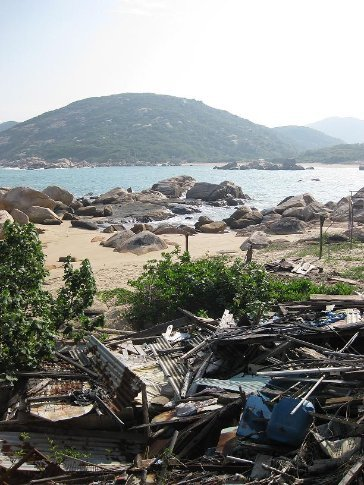 Yung She Ha beach (and rubble), Lamma Island. Apparently a lot of the locals collect and re-use building materials.
