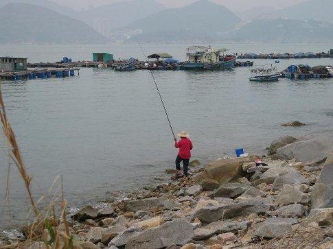 A villager fishing on Lamma Island.