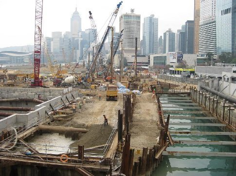 The whole waterfront of Hong Kong Island is under construction.