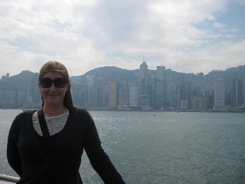 At Victoria Harbour, with Hong Kong Island in the back ground. A nice American woman took this photo. Her and her husband were over in HK from Japan for the weekend.