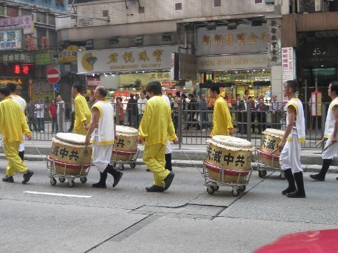 Drummers that were part of a demonstration that were making their way down Nathan Road in Kowloon. I have no idea what it was all about because I can't speak or read Cantonese.