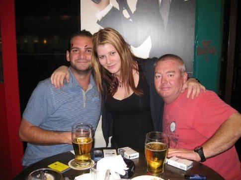 Outside the Irish pub 'The Paddy Feilds' in Guangzhou with Leith and Mark.