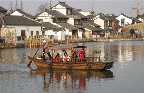 One of the wooden tourist boats. Zhujiajiao.