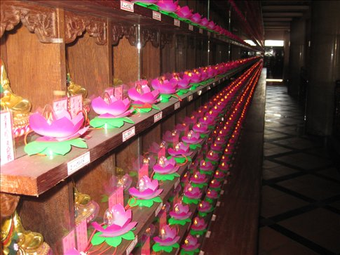 All of these lights represent the souls of the deceased.  Apparently people pay a lot of money to get a light to represent them in a temple.