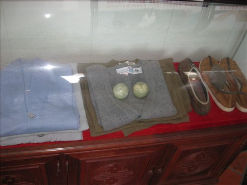 They've got ALL of the monks possessions on show behind glass. EVERYTHING even down to his shoes and cutlery. (Seriously, everything)