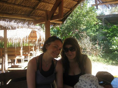 Lyb and I at the first lake side bar, just before we went tubing. :)
