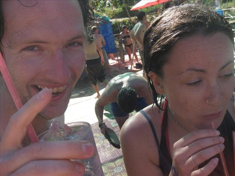 Lyb and Graeme having a stiff drink after going on the flying fox.