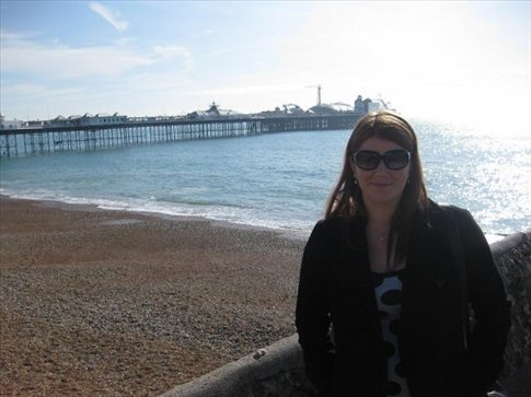 With the pier in the back ground.