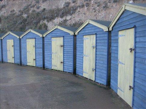 Colorful beach huts.